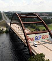 Austin, Texas conservatives and GOP Vote banner on 360 bridge