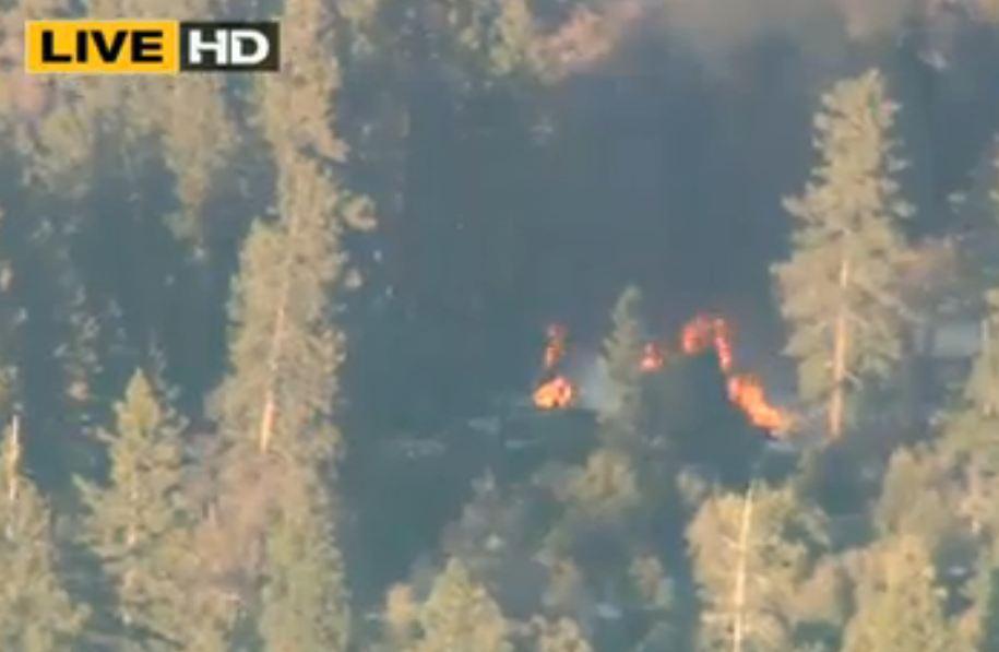 Dorner Cabin in Flames