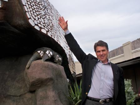 Texas Governor Rick Perry with the Giant Armadillo