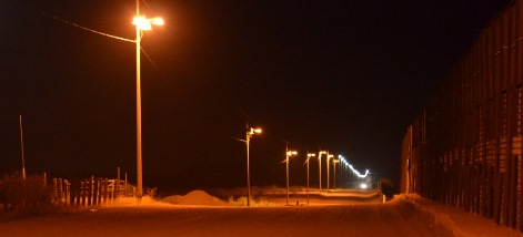 Naco AZ Border Fence at Night