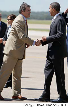 Rick Perry Greets Barrack Obama in Austin