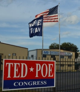 Romney Ryan Flag in Houston Texas