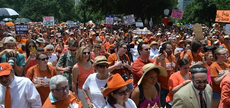 Sea of Orange Protesters on South Steps of Texas Capitol