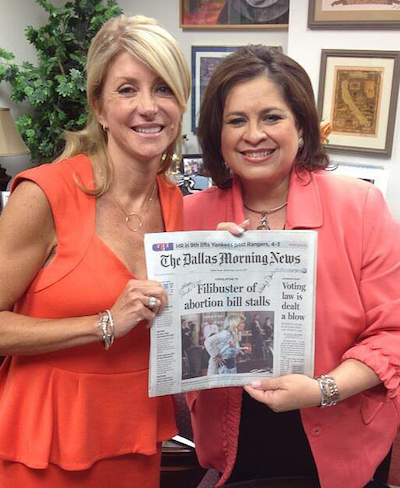 Wendy Davis with Leticia can de Putte