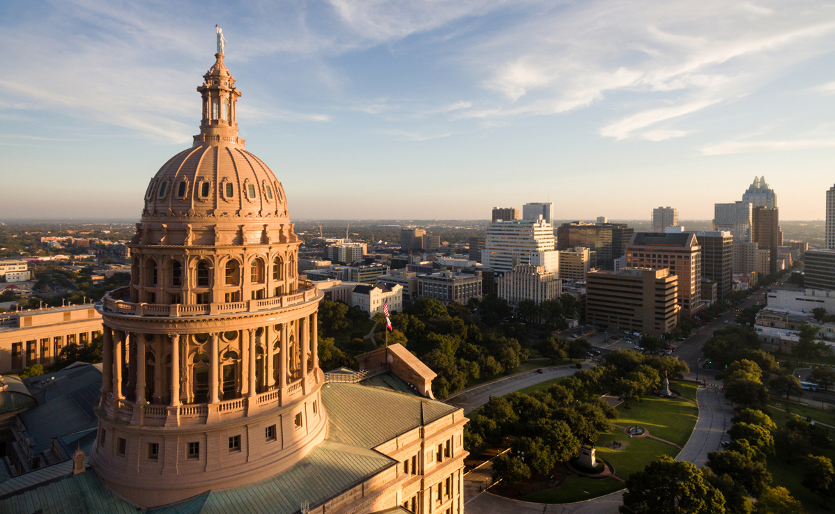 Texas Capitol and Austin downtown from above