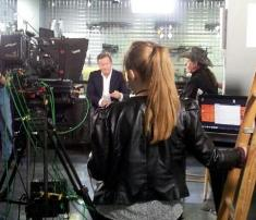 CNN Sr Producer Winnie Dunbar on set with Ted Nugent and Piers Morgan