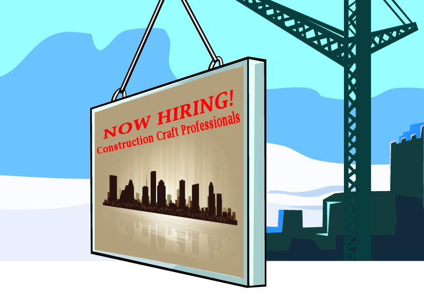 billboard sign need construction workers to hire