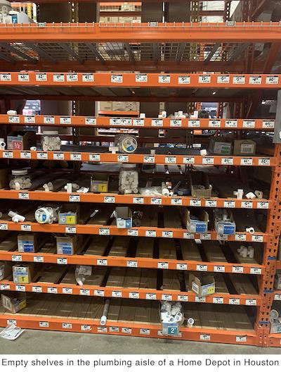 empty shelves Houston Home depot plumbing