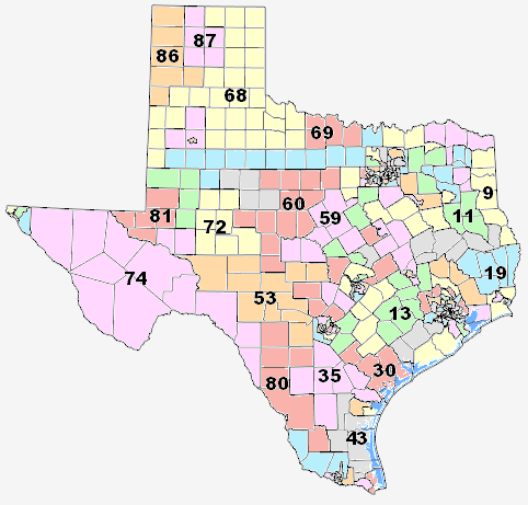 Texas Representative District Map